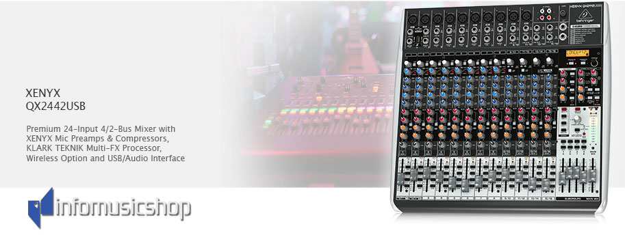 Behringer premium 24-input 4/2-bus mixer with xenyx mic preamps qx2442usb