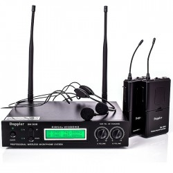 Doppler - Doppler DM-302B 2 li Yaka Kablosuz Mikrofon Çift Anten
