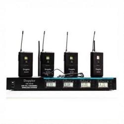Doppler - Doppler DM-400B Çift Anten Dört Yaka Telsiz Mikrofon