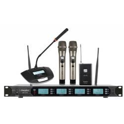 Doppler - Doppler DMT-4100 Set Çift Anten Çift El Tek Yaka Tek Meeting Telsiz Mikrofon